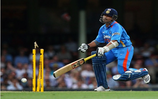 sachin first time run out