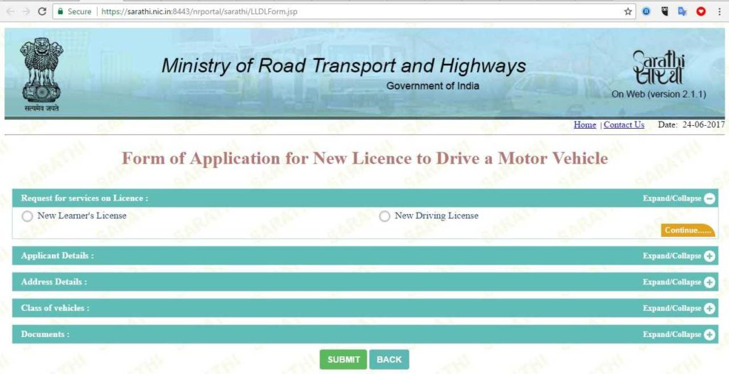 driving licence online application