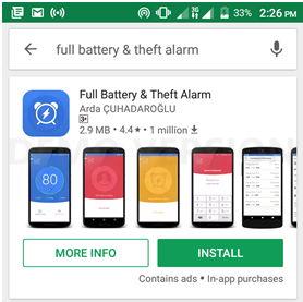 Full Battery and Theft Alarm app hindi