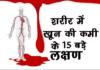 खून की कमी के 15 बड़े लक्षण जाने
