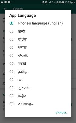 WhatsApp पर Language कैसे चेंज करे