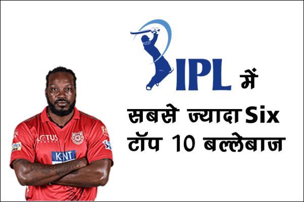 IPL में सबसे ज्यादा सिक्स लगाने वाले खिलाड़ी