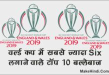 वर्ल्ड कप 2019 में सबसे ज्यादा सिक्स