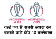 वर्ल्ड कप में सबसे ज्यादा रन 2019